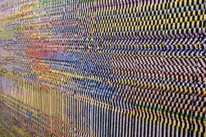 GlitchTextiles    These textiles are a collection of woven and knit blankets whose patterns are generated from images taken with short circuited cameras.