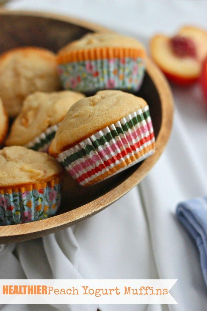 Healthier Peach Yogurt Muffins | TheCornerKitchenBlog.com