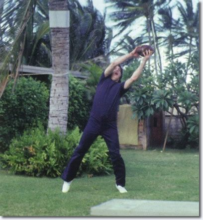 Elvis having fun playing Football in Hawaii March 1977. Nice catch baby!