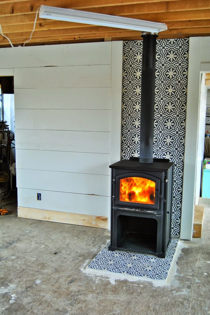 cement tiles and a wood stove - 195 Best Images About Mantels/fireplaces On Pinterest Wood