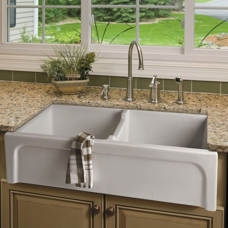 got more done with this double bowl fireclay farmhouse sink the basin is double sided