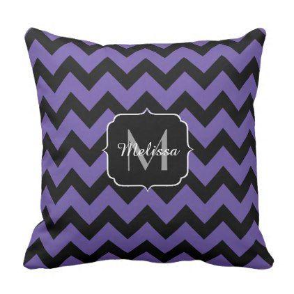 PLdesign Ultra violet Black Chevron Monogram Throw Pillow - personalize design idea new special custom diy or cyo