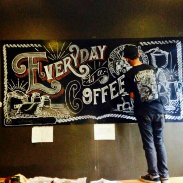 Everyday is coffee day mural on ngopi doeloe bandung indonesia