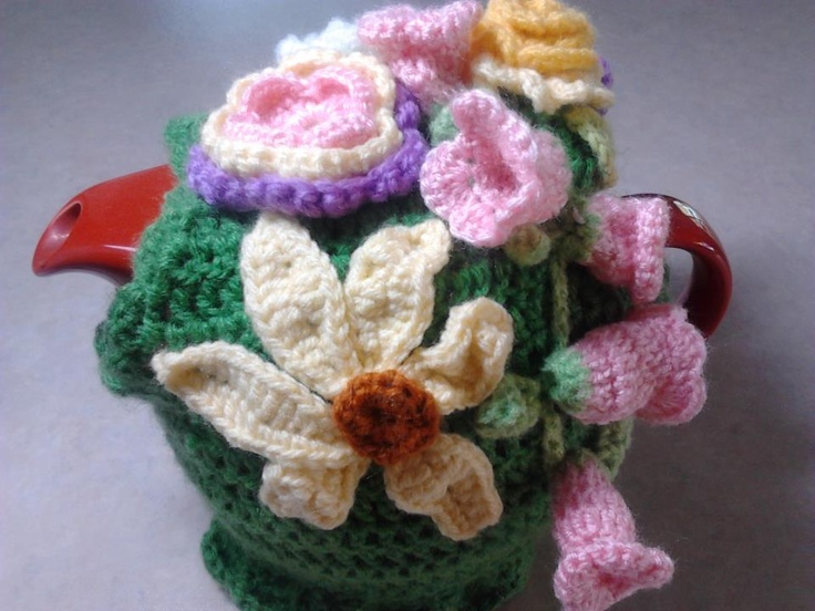 Flower crochet tea cosy.  Pink flowers and sunflower.  Crafternoon Tea on Facebook.  $40