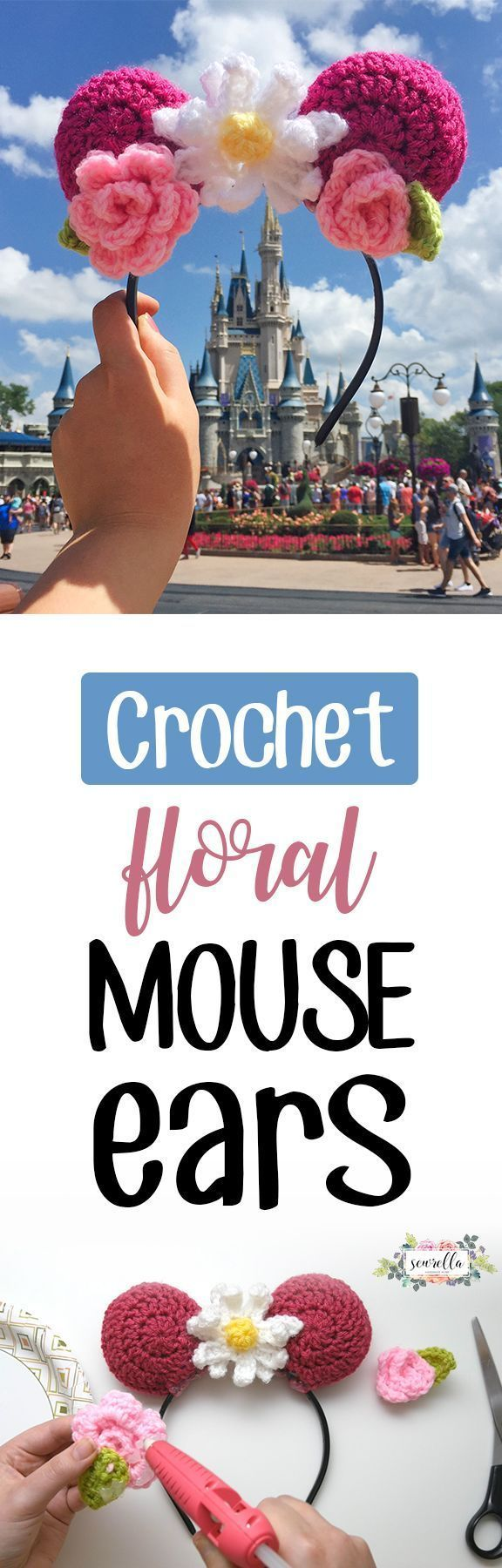 Make these easy Disney Mouse Ears with crochet! Pattern & video tutorial are great for beginner crocheters and perfect for visiting disney parks!