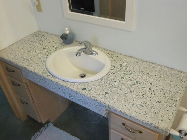 BrainRight   Cottage Bath Countertop   DIY Concrete And Recycled Glass Bath  Counters With Sink Cutouts