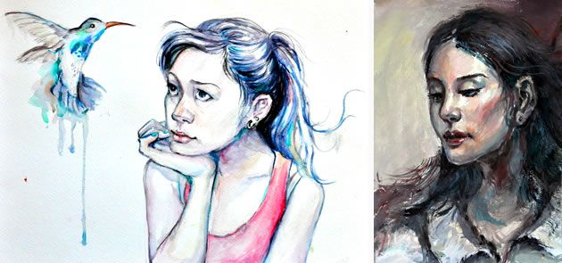 Two of the portraits completed s part of Samantha's GCSE exam prep work.