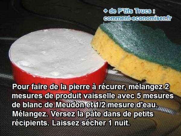 C'est vraiment une pierre miracle pour TOUT nettoyer à la maison avec 1 seul produit. Et, heureusement, la recette de la pierre à récurer est vraiment toute simple à faire. Il suffit d'un peu de blanc de Meudon et de liquide vaisselle.  Découvrez l'astuce ici : http://www.comment-economiser.fr/la-recette-super-simple-de-la-pierre-a-recurer-maison.html?utm_content=buffer2c751&utm_medium=social&utm_source=pinterest.com&utm_campaign=buffer