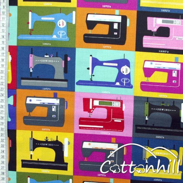 bawełna Timeless Treasures MASZYNY DO SZYCIA - CottonhillFabric - Tkaniny dla dzieci