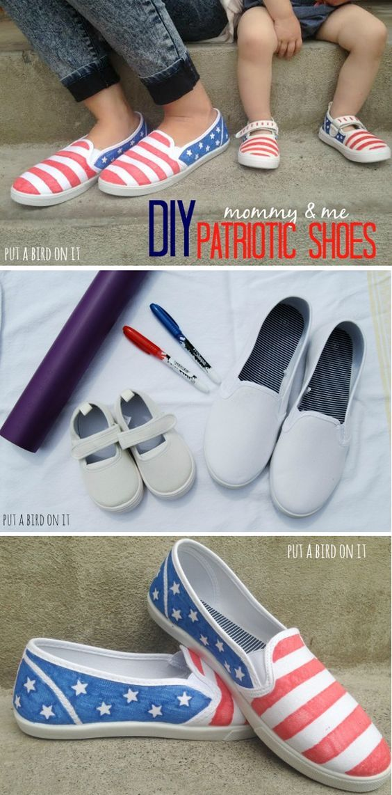 DIY american flag patriotic shoes for 4th of July!