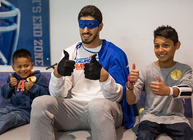Thumbs up from Enes & friends at OU Children's Hospital Thunder Halloween party.