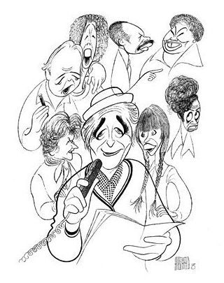 'norman lear with carroll o'connor and jean stapleton in all in the family; beatrice arthur in maude; louise lasser in mary hartman, mary hartman; marla gibbs, esther rolle and sherman hemsley in the jeffersons' by al hirschfeld