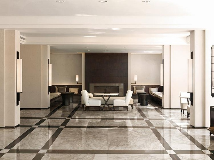 porcelain that looks like calacatta marble boutique hotel lobby look