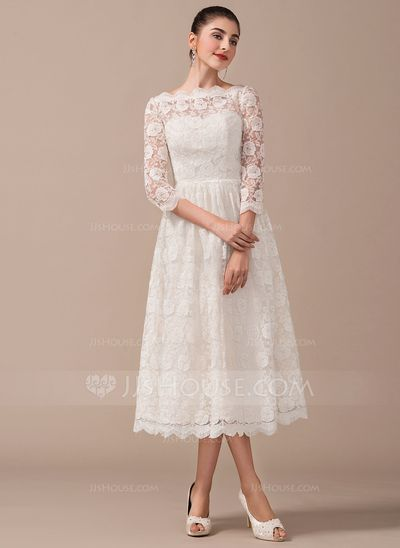 A-Line/Princess Off-the-Shoulder Tea-Length Lace Wedding Dress (002070234)