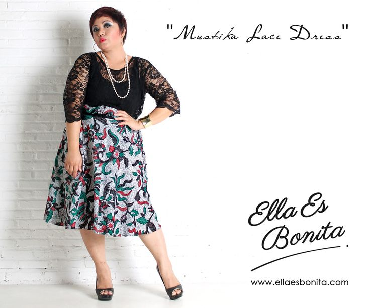 Mustika Lace Dress - This vintage batik lace dress features high quality brocade lace for the tops and batik cotton for the skirt which specially designed for sophisticated curvy women originally made by Indonesian Designer & Local Brand: Ella Es Bonita. Available at www.ellaesbonita.com