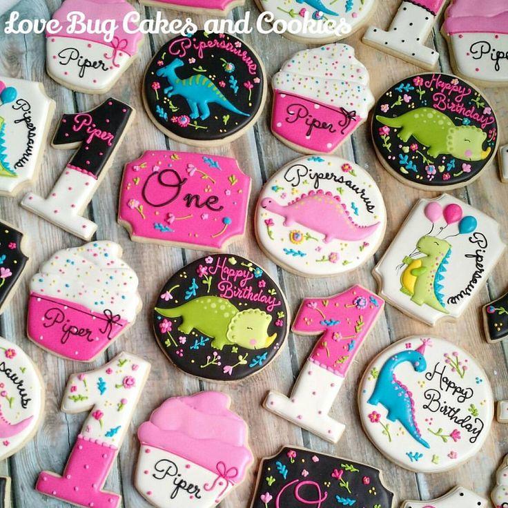 "243 Likes, 14 Comments - Beth Bougie (@lovebugcookies) on Instagram: ""Girly Dinosaur cookies to match the invitation! #dinosaur #girlydinosaur #birthday #neon…"""