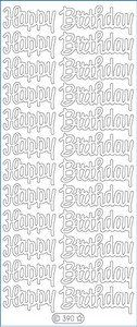"Happy Birthday Large Peel Off Stickers 4""X9"" Sheet-Silver:   ELIZABETH CRAFT DESIGNS: Stickers. These stickers are a great way to customize your craft and art projects. This package contains one 4x9 inch sheet of peel-off stickers. Design: Happy Birthday Large. Available in a variety of colors (each sold separately). Acid and lignin free. Imported."