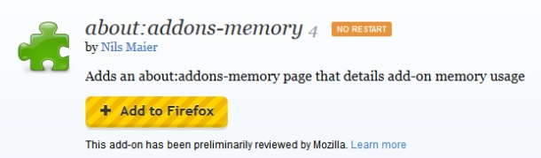 Check memory usage for Firefox add-ons