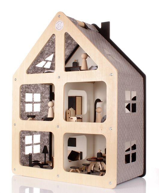 zabawki - klocki i zabawki drewniane-DUŻY drewniany domek dla lalek NOWOŚĆ!