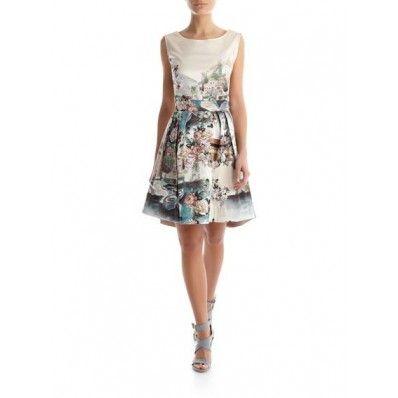 Rinascimento Printed Flower Shape Dress