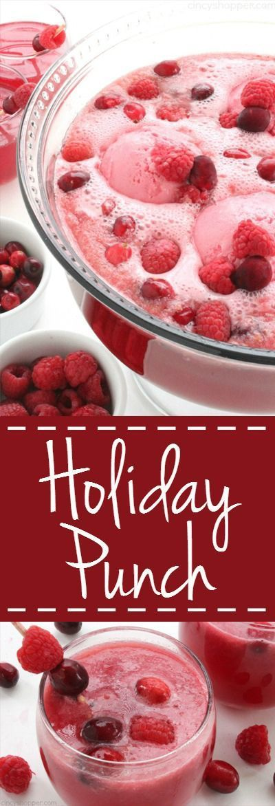 Holiday Punch - super Christmas punch idea. Loaded with cranberry, raspberry, lemon-lime flavors, and then topped with raspberry sherbet, it is sure to be a favorite at your holiday parties.