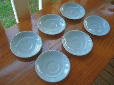 Vintage Johnson Of Australia Scalloped Edge Blue Saucer Set of 6