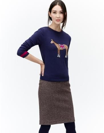 Joules Womens Intarsia Jumper Navy Painted Horse Crafted