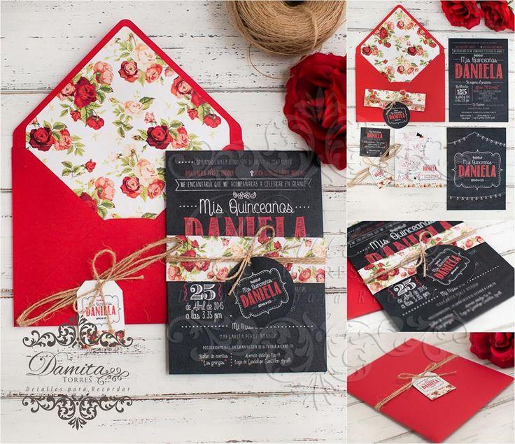 Invitacion roja, invitacion XV años, invitacion vintage, invitacion pizarra