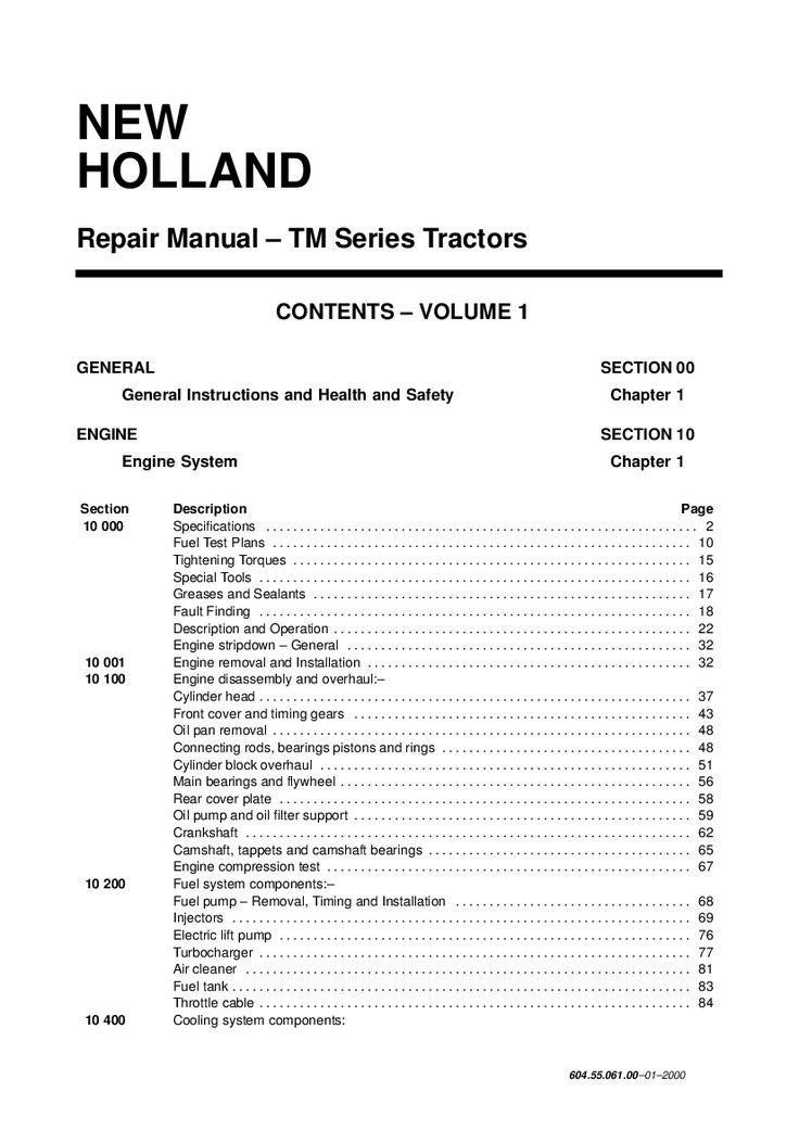 New Holland Tm115 Tm125 Tm135 Tm150 Tm165 Tractor Workshop Repair Service Manual Pdf Download