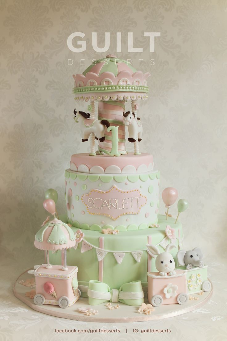 Pretty Carousel Cake by Guilt Desserts