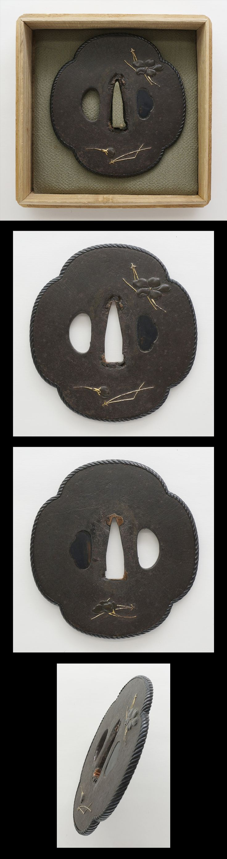 Tsuba: Mumei(Unsigned) Cherryblossom and Pine Leaf Design | Japanese Sword Shop Aoi-Art.