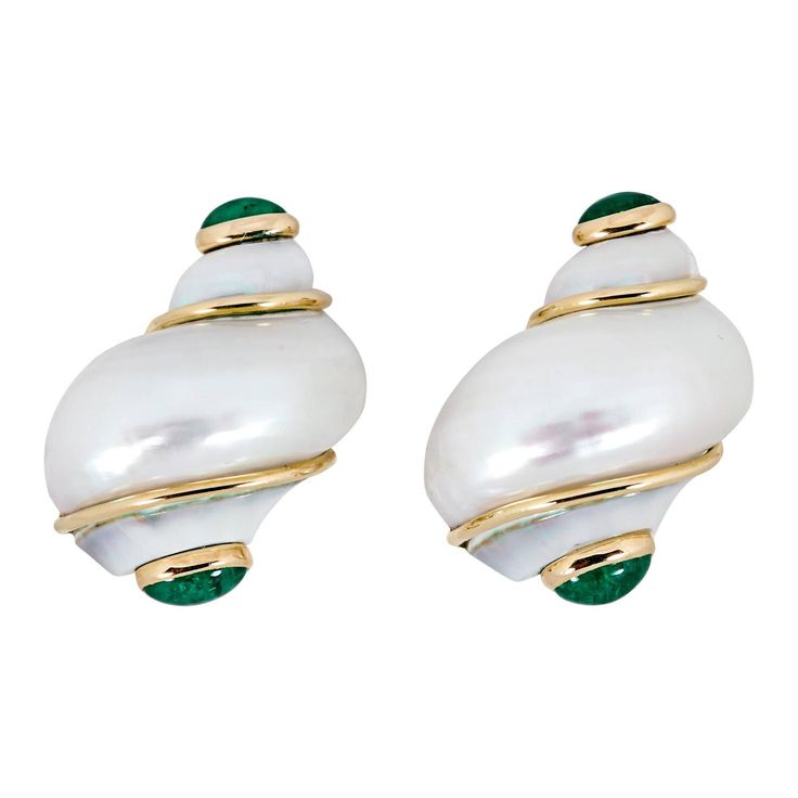 Seaman Schepps Shell, Emerald, and Gold Earrings | From a unique collection of vintage clip-on earrings at https://www.1stdibs.com/jewelry/earrings/clip-on-earrings/
