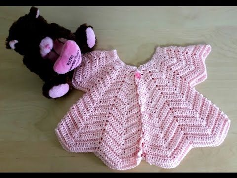 Facebook Page: https://www.facebook.com/HipCreative-258588354541064/ Beautiful Baby Chevron Cardigan for a 1 year old girl For this cardigan I used: - Pink F...