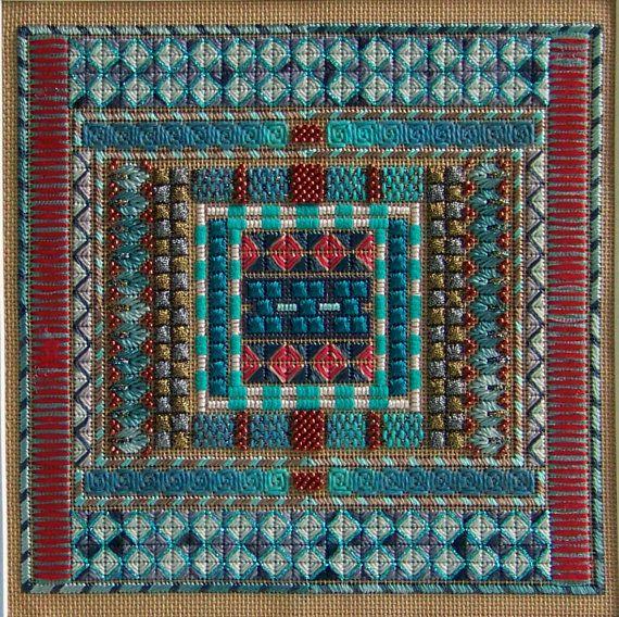 Needlepoint Kit  Equilibrium Turquoise colorway by ADORNBYORNA