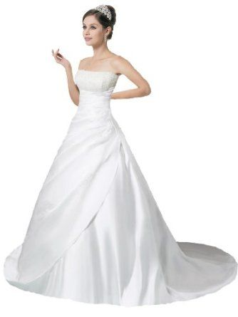 Faironly Crystal Strapless Satin Wedding Dress Bride Gown  FairOnly