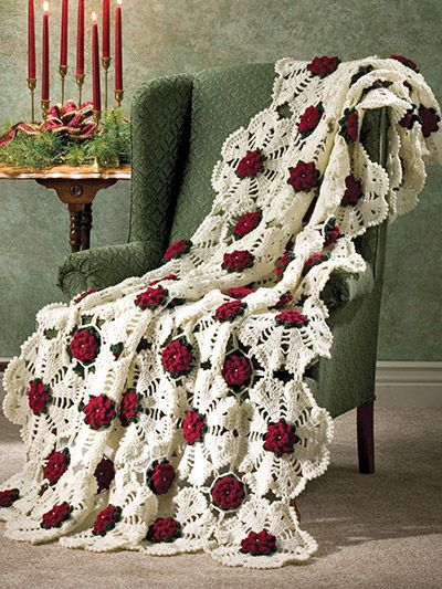 Motifs, panels and rows make up these beautiful Christmas Afghans. Snowflake Rose's motifs are join-as-you-go and create a stunning lacy snowflake; Christmas Flowers works up quickly using double-strands of yarn; and Peppermint Stripes brings to mind...