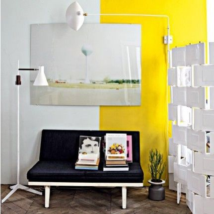 nice: Decor, Jeans Christopher, Wall Colors, Yellow Wall, Two Tones Wall, Paris Apartments, Interiors Design, Paintings Wall, Colors Blocks