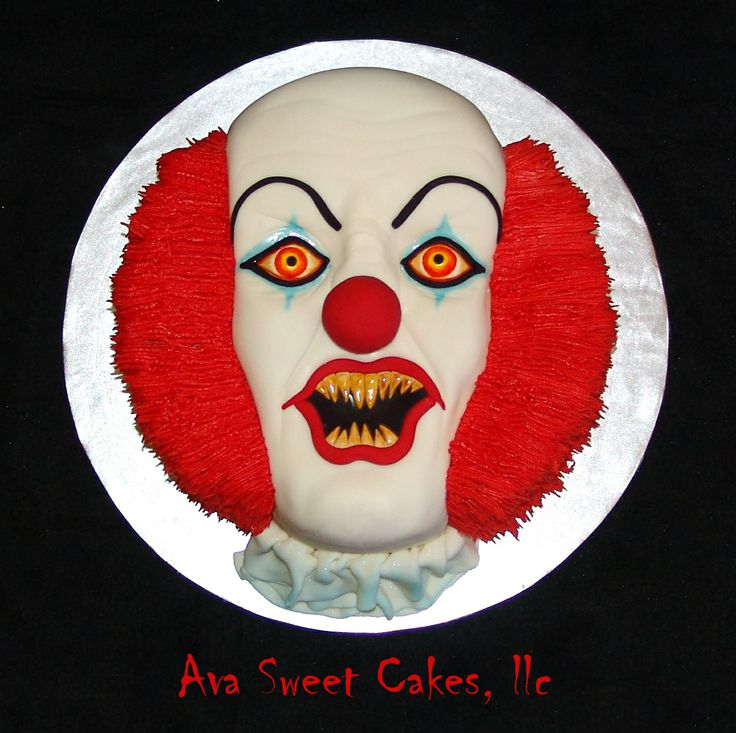 Pennywise - This is the creepiest cake I have ever made! This is the clown Pennywise from Steven King's IT. I am going to have nightmares for sure!! Again! Oh the nose is a cake ball :)