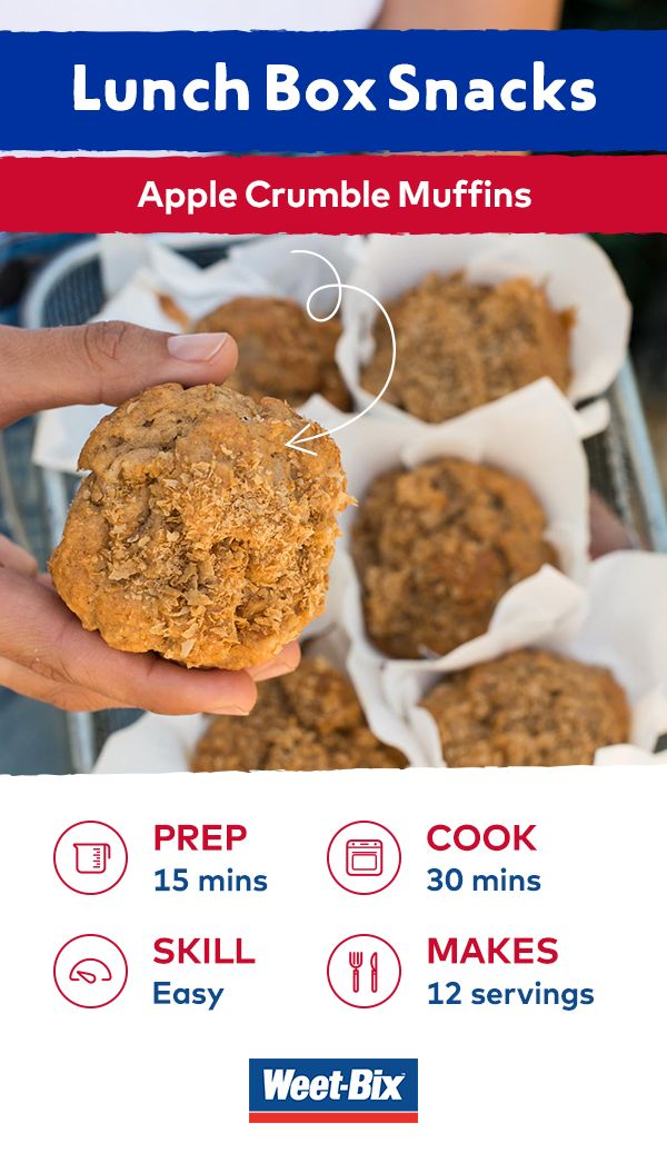 These muffins are delicious and travel so well in a lunchbox. Made with Weet-Bix™, almond milk and apples, they're also a healthy alternative to traditional muffins—not that your kids will taste the difference!   View this recipe in our FREE recipe e-book by Masterchef winner Julie Goodwin. Download it now and be in the draw to win one of 2,000 hard copies! www.weetbix.com.au/lunchbox