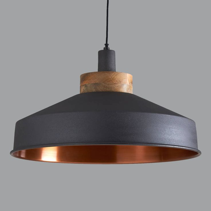 Stunning Graphite And Copper Pendant Light.This classically designed large metal and wood pendant has a graphite finish on the outside and a copper finish on the inside, for a nice warm glow. It looks great lit or unlit and due to its larger size, can take on rooms and spaces of most sizes. It comes with approximately 105cm of flex that can be shortened to any length and matching ceiling rose, as shown. Ideal in kitchens, dining rooms, hallways or living rooms, they look great on their own…