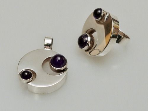 #forsale > Kalevi Sara for Kultaseppä Salovaara (FI), minimalist sterling silver and amethyst pendant and ring set, 1972. #finland | finlandjewelry.com