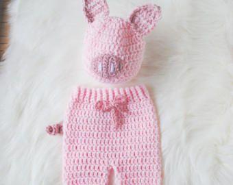 Disfraces de Halloween bebé, sombrero del cerdo del bebé, cerdo Knit Hat, cerdo del sombrero del ganchillo, Piglet disfraz de Halloween, traje de bebé de cochinillo, cochinillo sombrero, sombrero del bebé