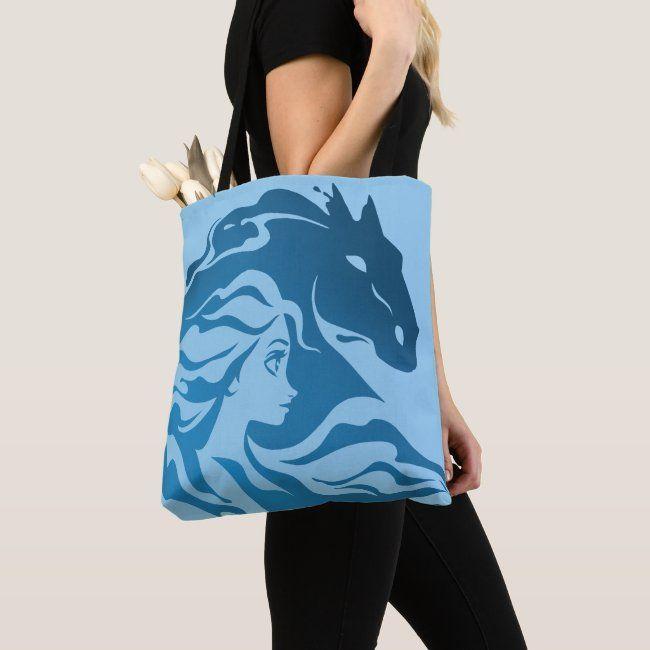 cartoon bag Eco bag Shopper Bag kids bag Shopping Bag Tote bag,Double-sided printing bag handbag blue Cotton Tote