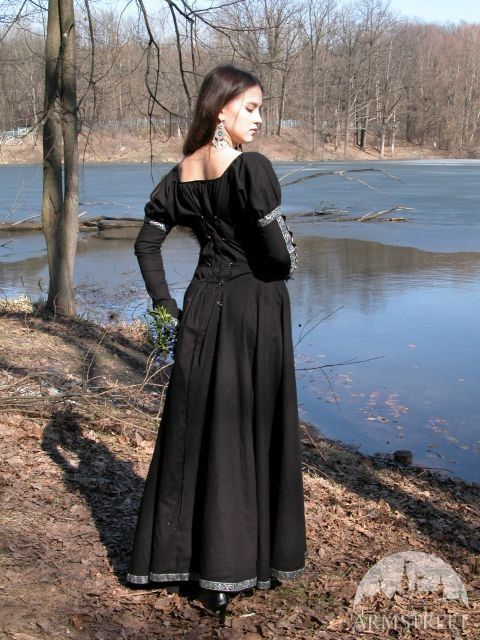 DISCOUNTED PRICE Medieval Fantasy Black Dress by armstreet on Etsy