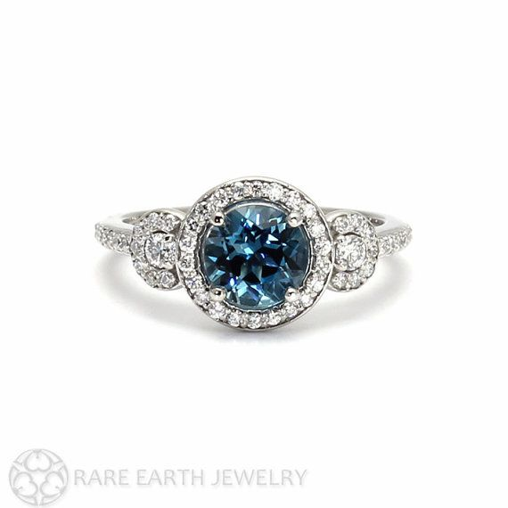 London Blue Topaz Ring 3 Stone Diamond Halo Blue by RareEarth