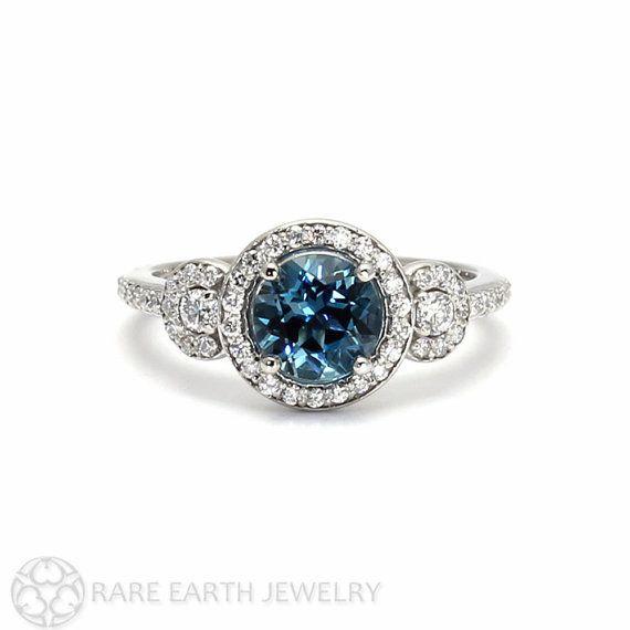 London Blue Topaz Ring 3 Stone Diamond Halo Engagement Ring Blue Gemstone Ring by RareEarth