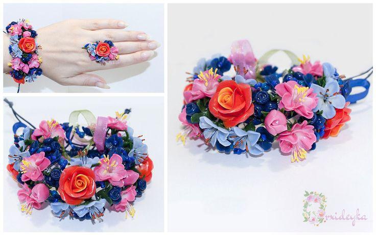 Rose bracelet Polymer clay bracelet Rose flower bracelet Red rose clay Pink Blue clay flowers Polymer clay jewelry Handmade Flower jewelry by OrxideykaStudio on Etsy