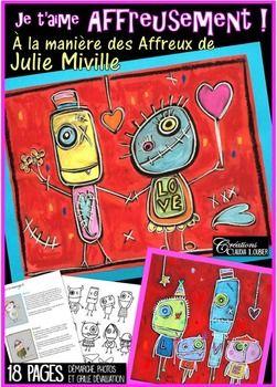 oici un de mes projets coup de coeur: ''Je taime Affreusement !  ,  la manire de Julie Miville et ses Affreux.Un projet d'arts plastiques, qui demande un matriel tout simple et qui donne des rsultats magnifiques. Vous aurez besoin de gouache en pain, de crayons de bois blancs et de pastels  l'huile.Faites dcouvrir  vos lves une incroyable artiste qubcoise et ses personnages les Affreux.Une belle faon de travailler la comptence Raliser des crations plastiques mdiatiques, tout en abordant le…