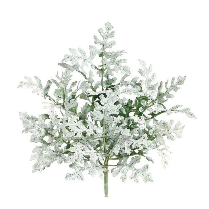 Dusty Miller Silk Flower Bush in Green Grey - 11in. Tall