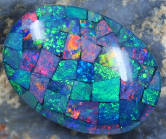 17.10 CTS TOP QUALITY MOSAIC OPAL ELECTRIC COLOR PLAY C5474